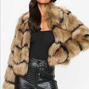 Missguided Faux Fur Stripe Jacket XS / S